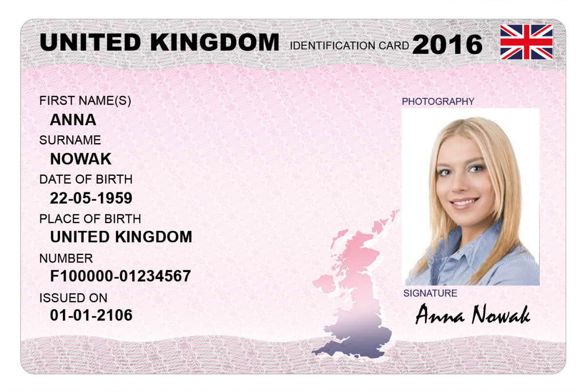NATIONAL UK ID CARD u2013 Dokumencik